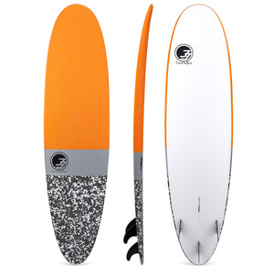 "7'2"" Poacher Funboard Surfboard Orange Camo (Hybrid Epoxy Softtop) - Preorder"