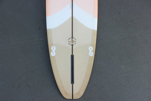 9' Ultimate Longboard Surfboard with Darkwood Stringer and Neo Chevron Resin Tint (Poly)
