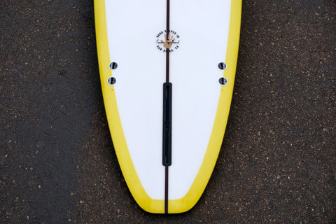 9' Ultimate Longboard Surfboard with Darkwood Stringer and Mustard Reverse Resin Wrap Tint (Poly)