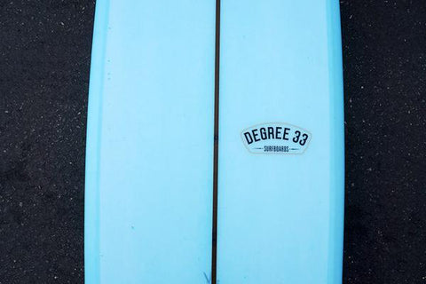 Ultimate-Performance-Longboard-Poly-Fiberglass-Light-Blue-Resin-Tint-Logo