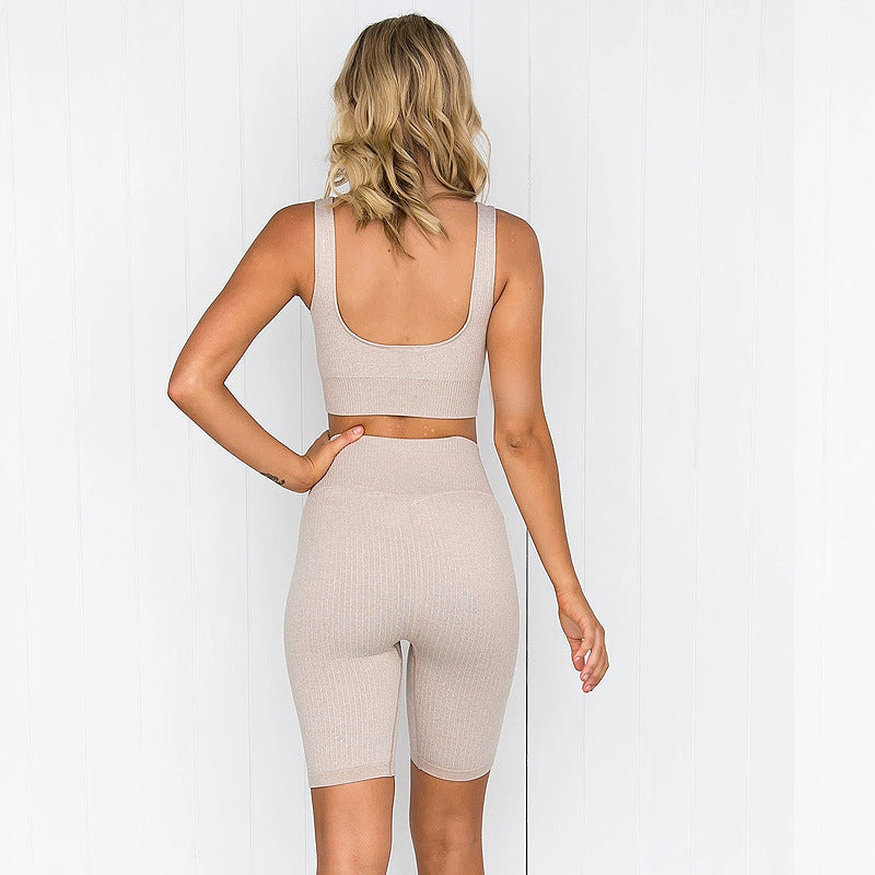 Ribbed Biker Shorts Seamless Set