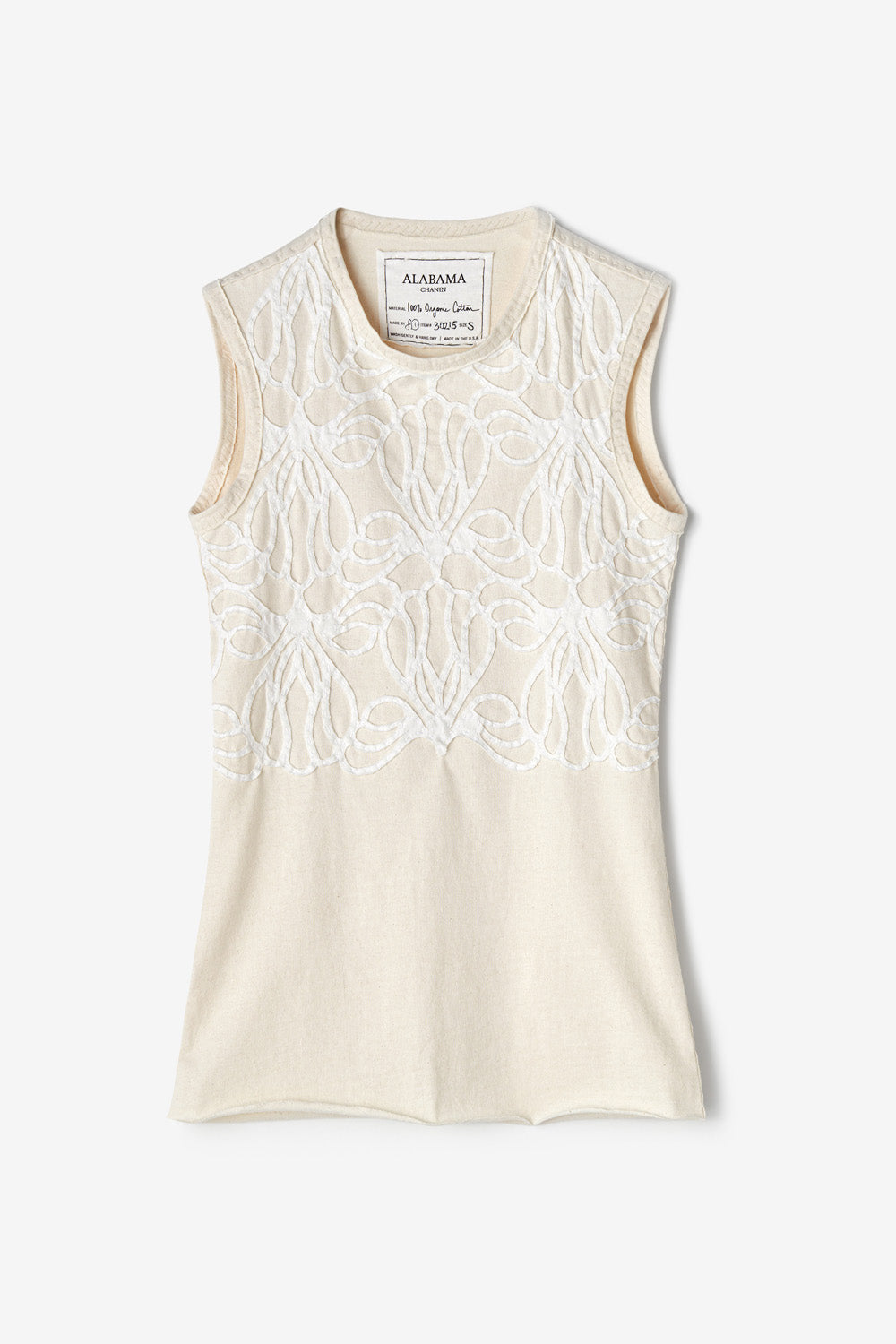 Alabama Chanin Adena Top Women's Organic Hand-Sewn Fitted Top in Applique Lace