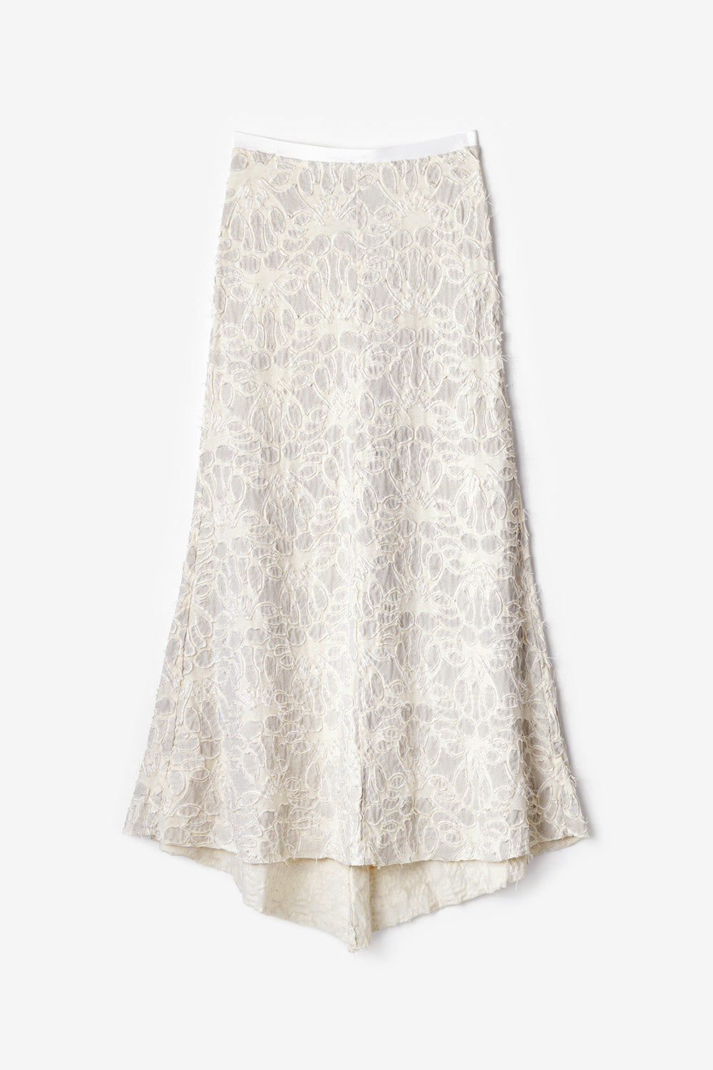 Alabama Chanin Anaise Skirt Hand Sewn Long Skirt with Lace Pattern in Natural