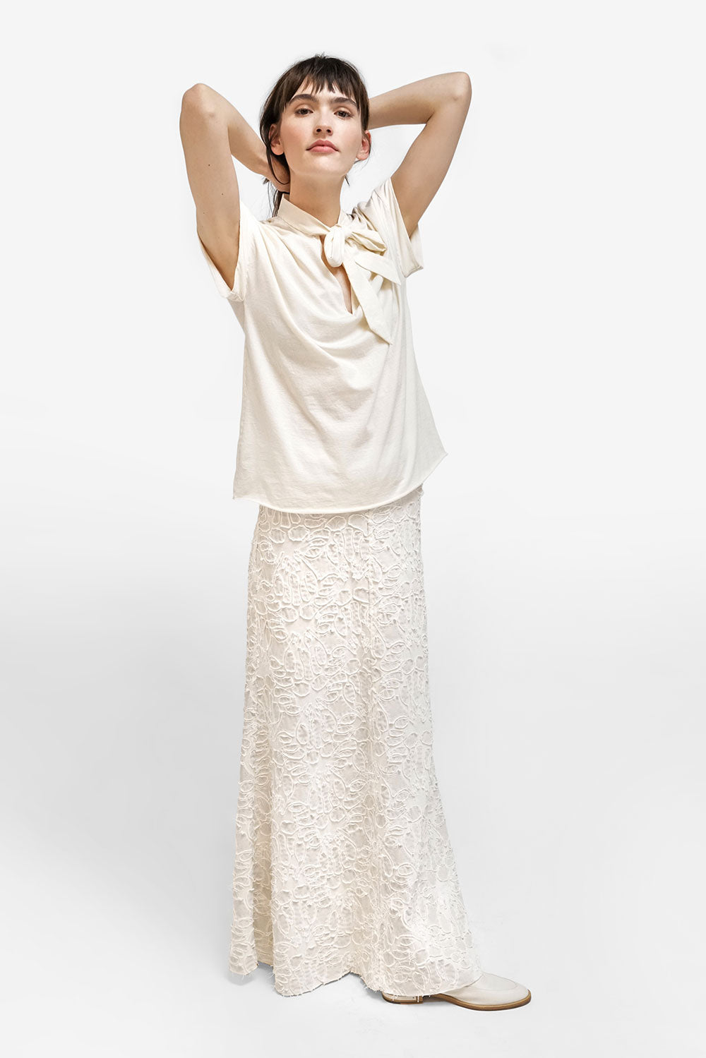 Alabama Chanin Anaise Skirt Women's Long Skirt with Train in Organic Cotton with Lace Applique Print