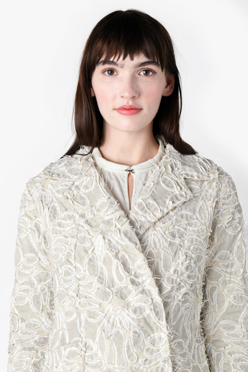 Alabama Chanin Bernadette Jacket Hand Sewn Women's Coat with Lace Pattern and Collar in Natural