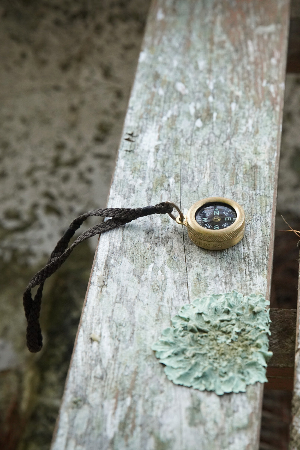 Alabama Chanin Traveler's Compass Handmade Brass with Brown Leather Strap