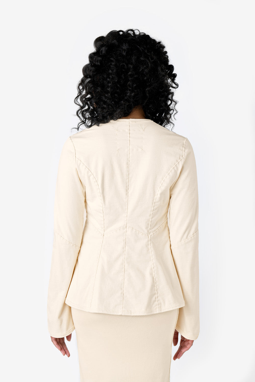 alabama chanin cerie cardigan top with long sleeves in natural on model
