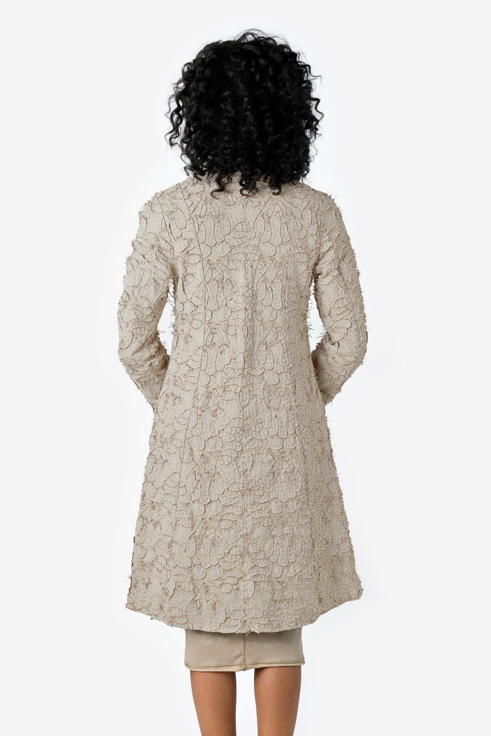 Alabama Chanin Clemence Jacket Women's Hand Sewn Lightweight Coat with Appliqué in Tan