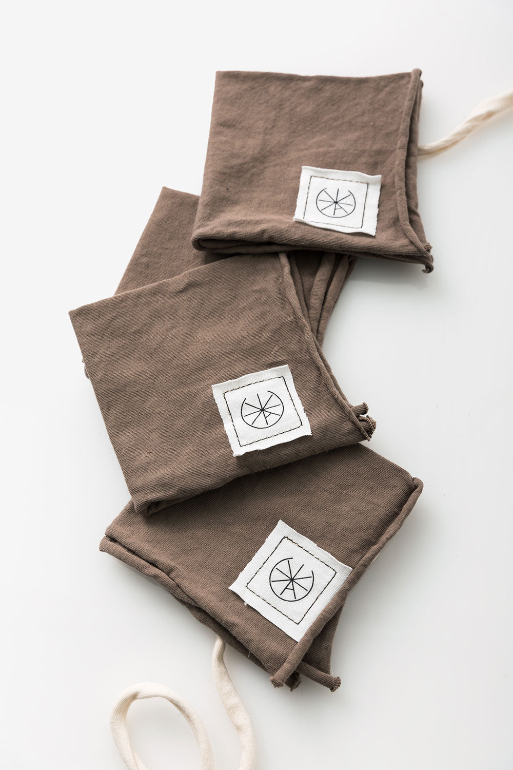 Alabama Chanin Cocktail Napkins Organic Cotton Jersey Napkins in Brown