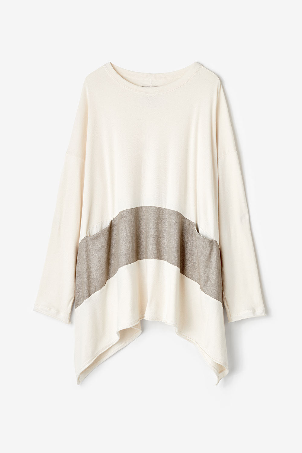 Alabama Chanin Core Club Organic Cotton Oversized Pullover with Pockets in Natural with Hand-Painted Tan Stripe