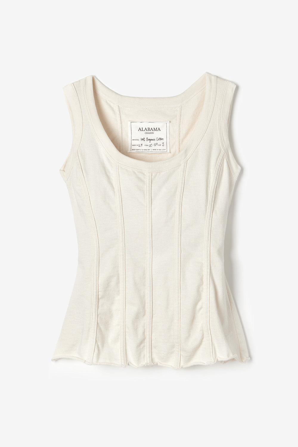 Alabama Chanin The Corset Machine Sewn Fitted Corset Top for Women in Natural