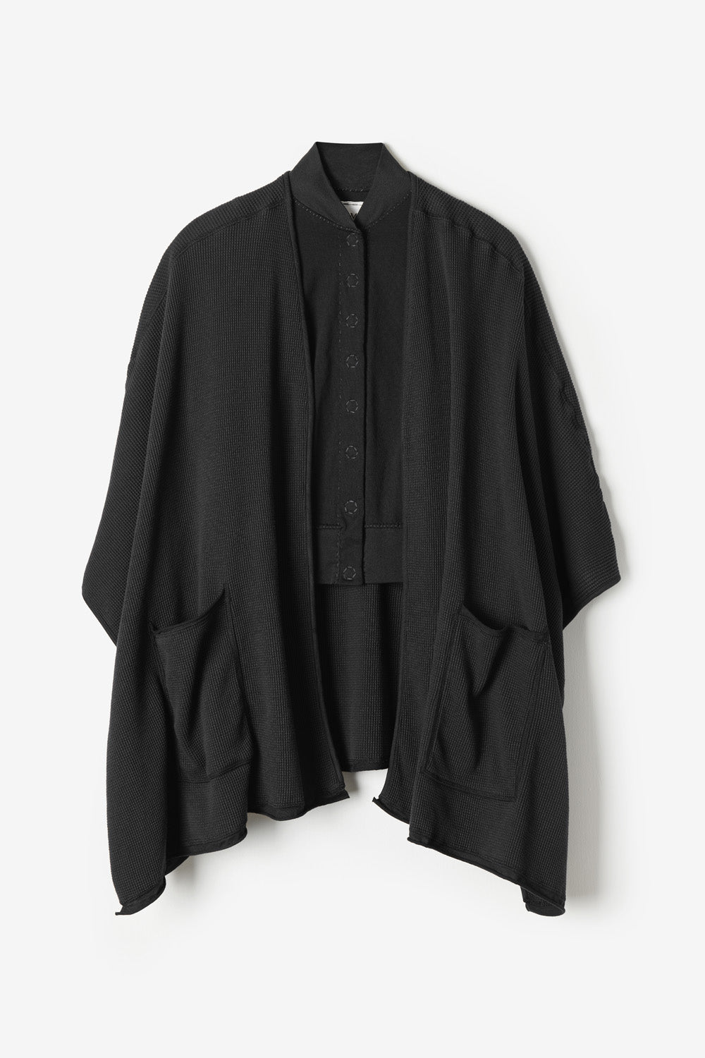 alabama chanin cozy waffle wrap in black made with organic cotton