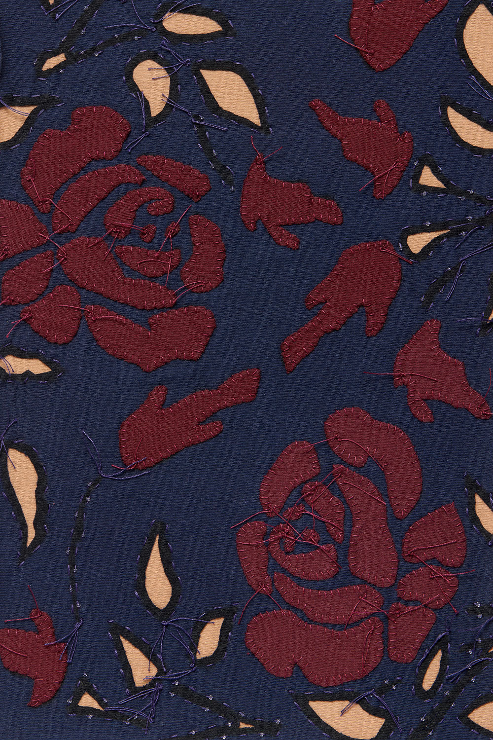 Alabama Chanin Rose Fabric Swatch in Navy and Camel Reverse Applique with Plum Rose Applique
