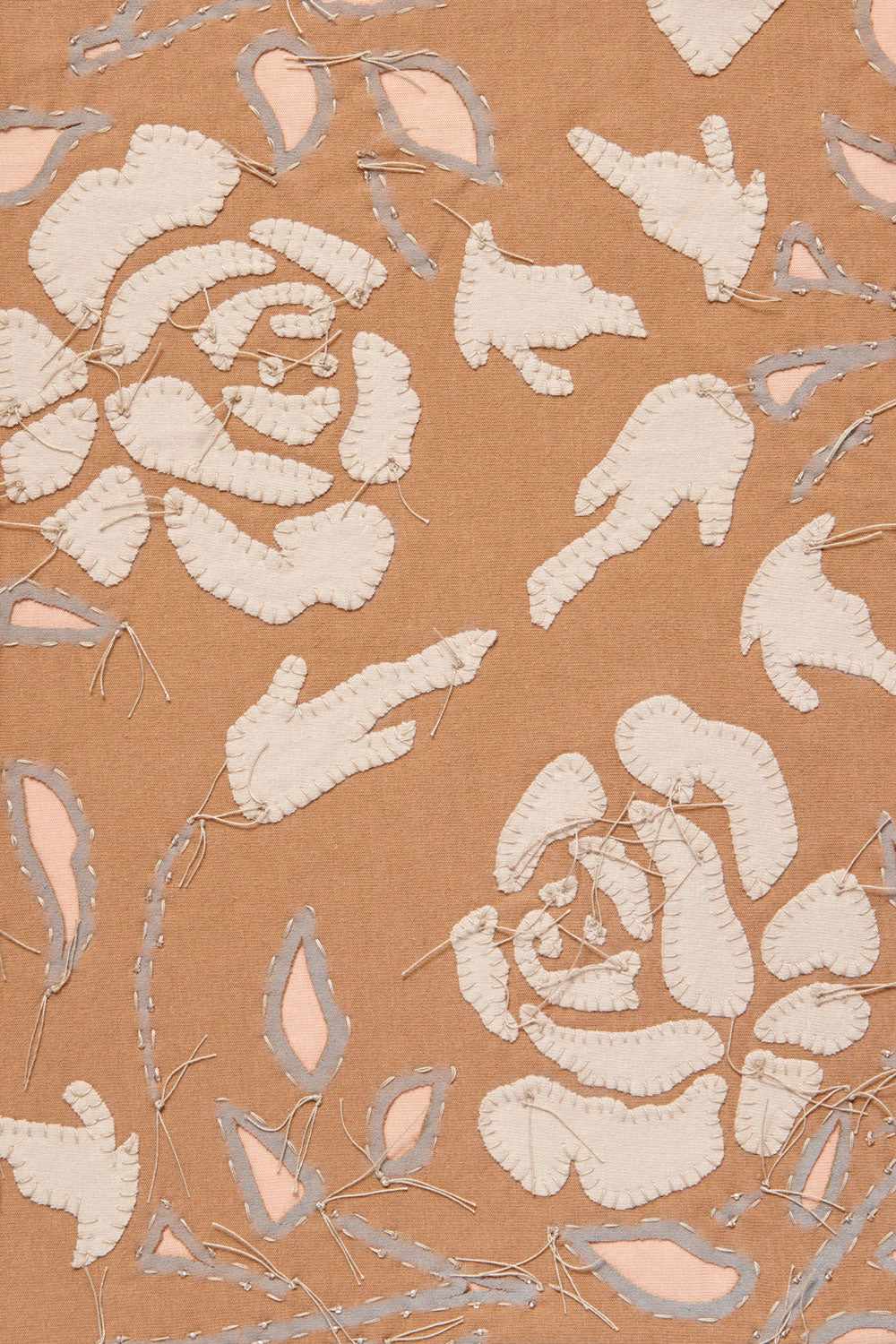 Alabama Chanin Rose Fabric Swatch in Applique from Upcycled Cotton T-shirts and 100% Organic Cotton Jersey in Camel/Wax and Beige