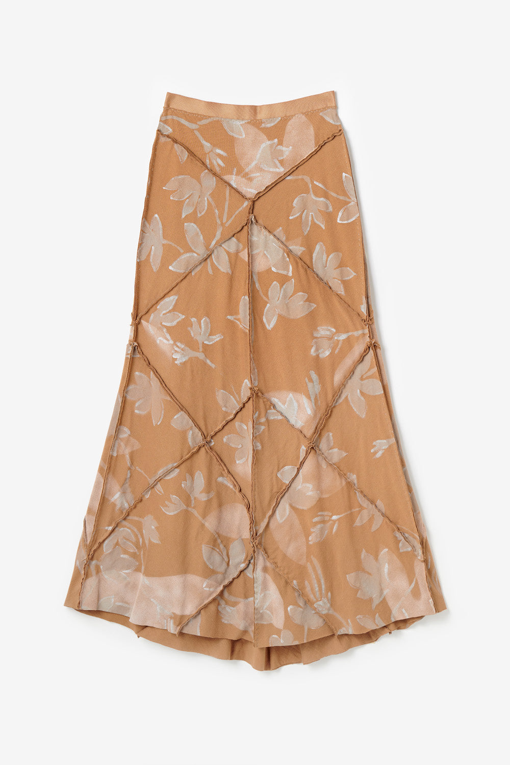 Alabama Chanin Fernando Skirt Patchwork Long Skirt with Hand-Painted Floral Pattern in Camel