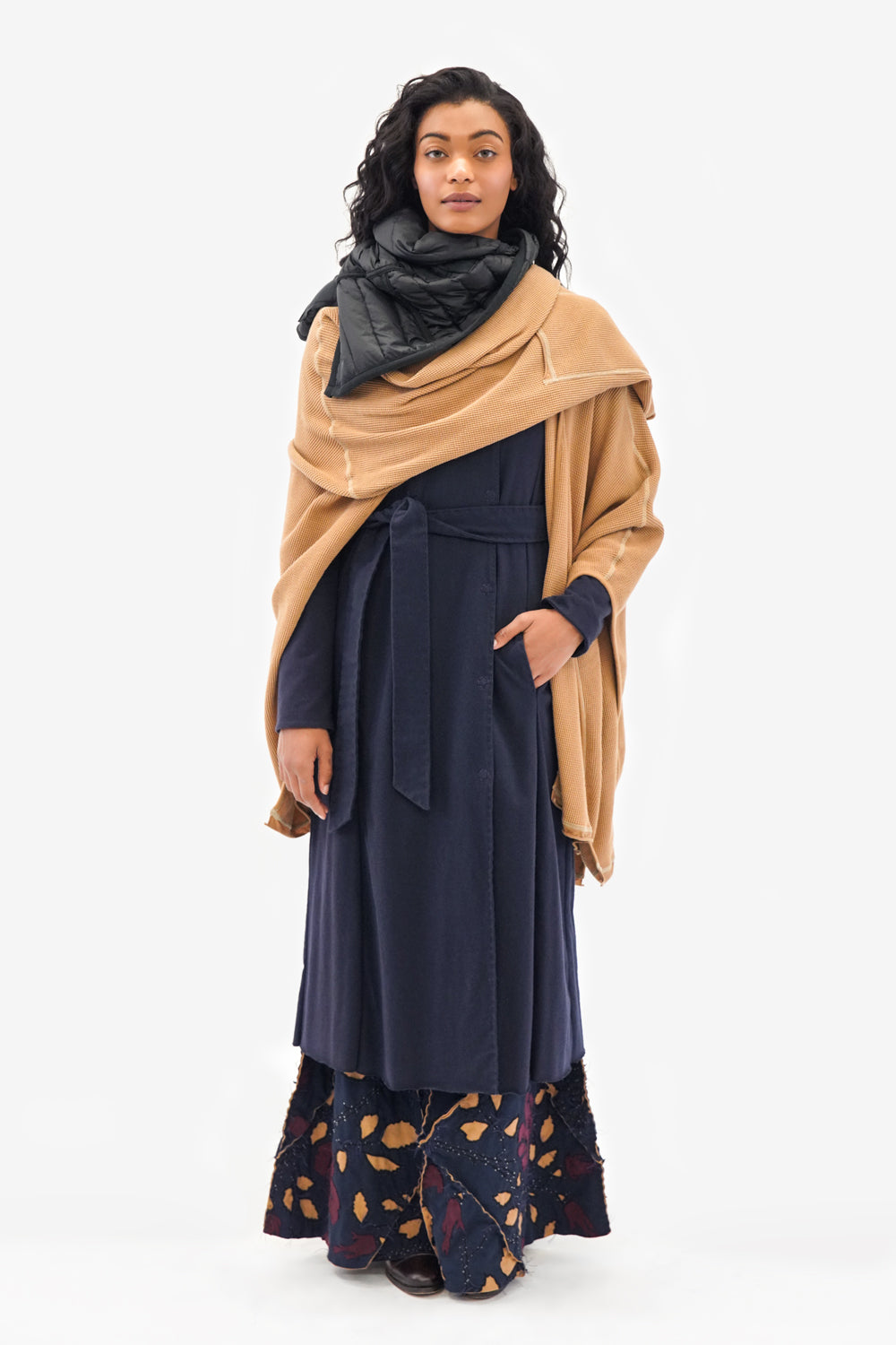 Alabama Chanin Navy Rose Fernando Skirt on Model in Navy Trench and Camel Waffle Wrap Scarf