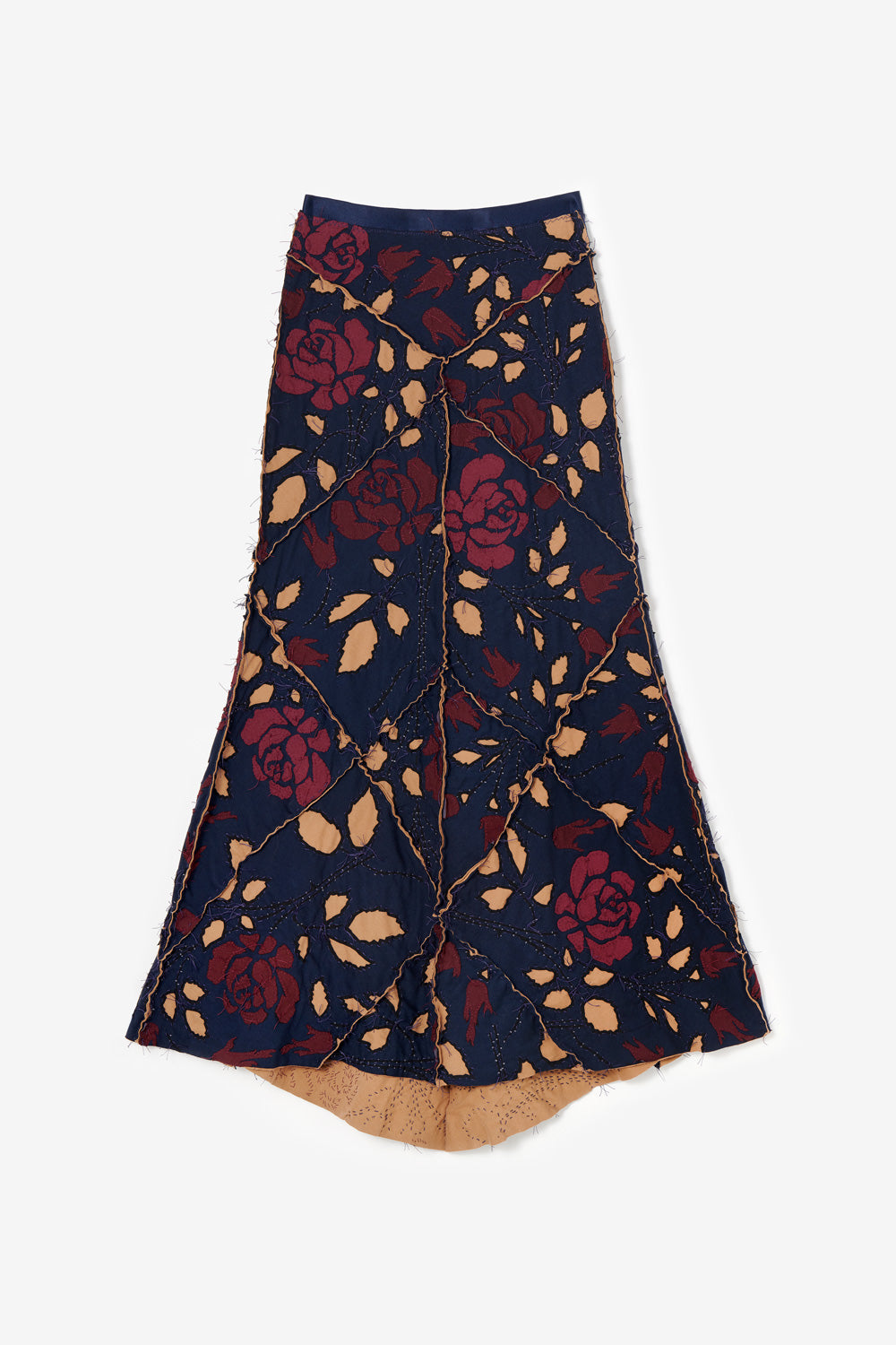 Alabama Chanin Sustainably Designed Long Fitted Skirt in Rose