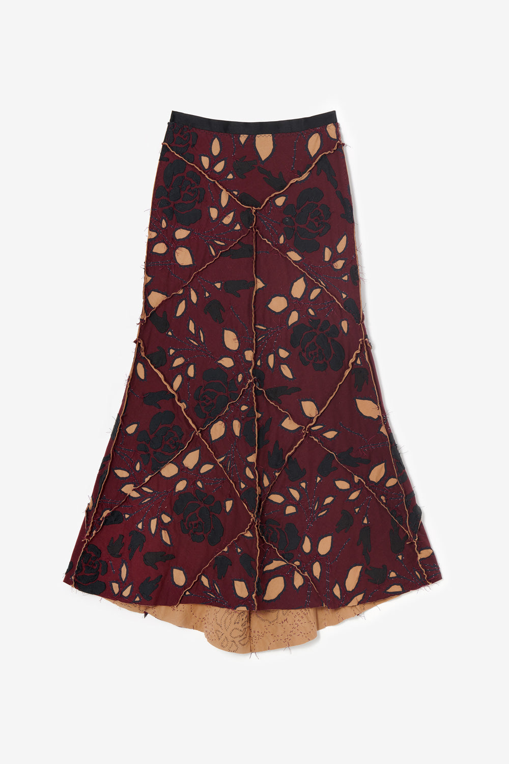 Alabama Chanin Fernando Rose Plum Long Skirt in Embroidered and Beaded Designs in Supima 100% Organic and Upcycled Cotton Jersey