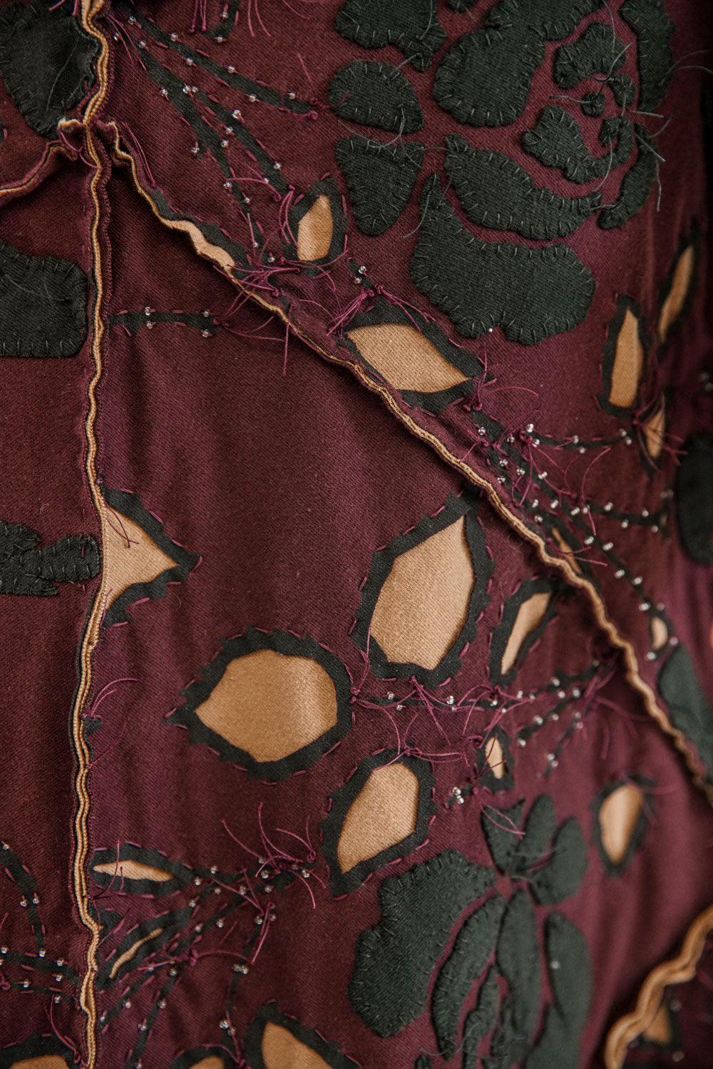 Alabama Chanin Fernando Rose Plum Fabric Swatch Embroidered and Beaded Designs in Supima 100% Organic and Upcycled Cotton Jersey with beading