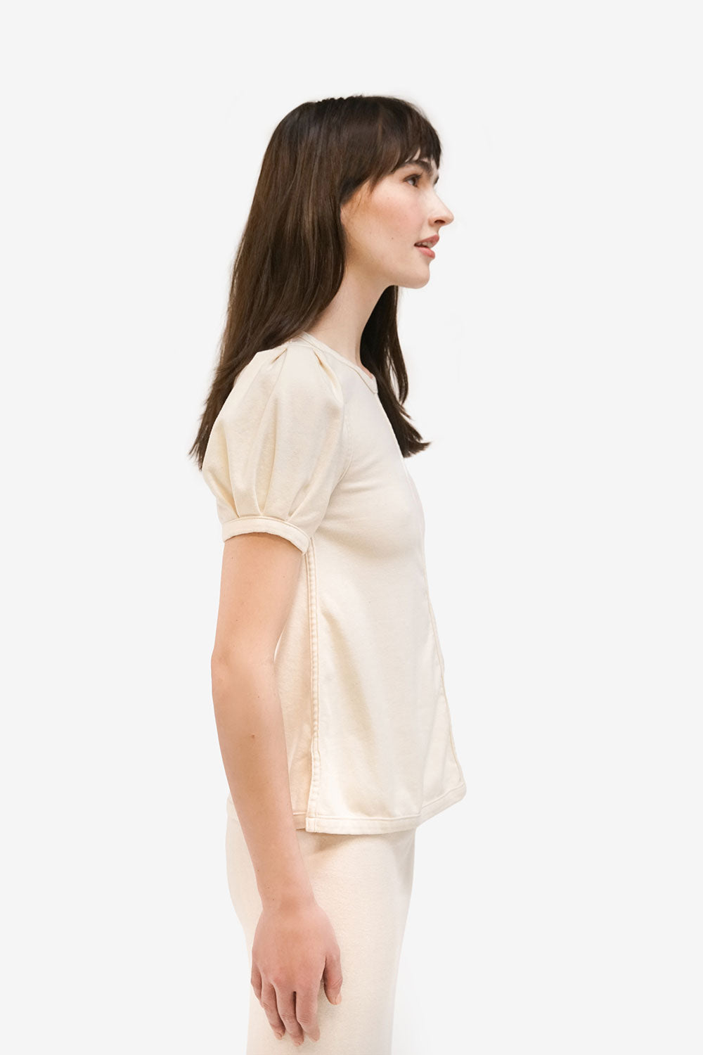 Alabama Chanin Fiona Top with Puckered Short Sleeve in Natural