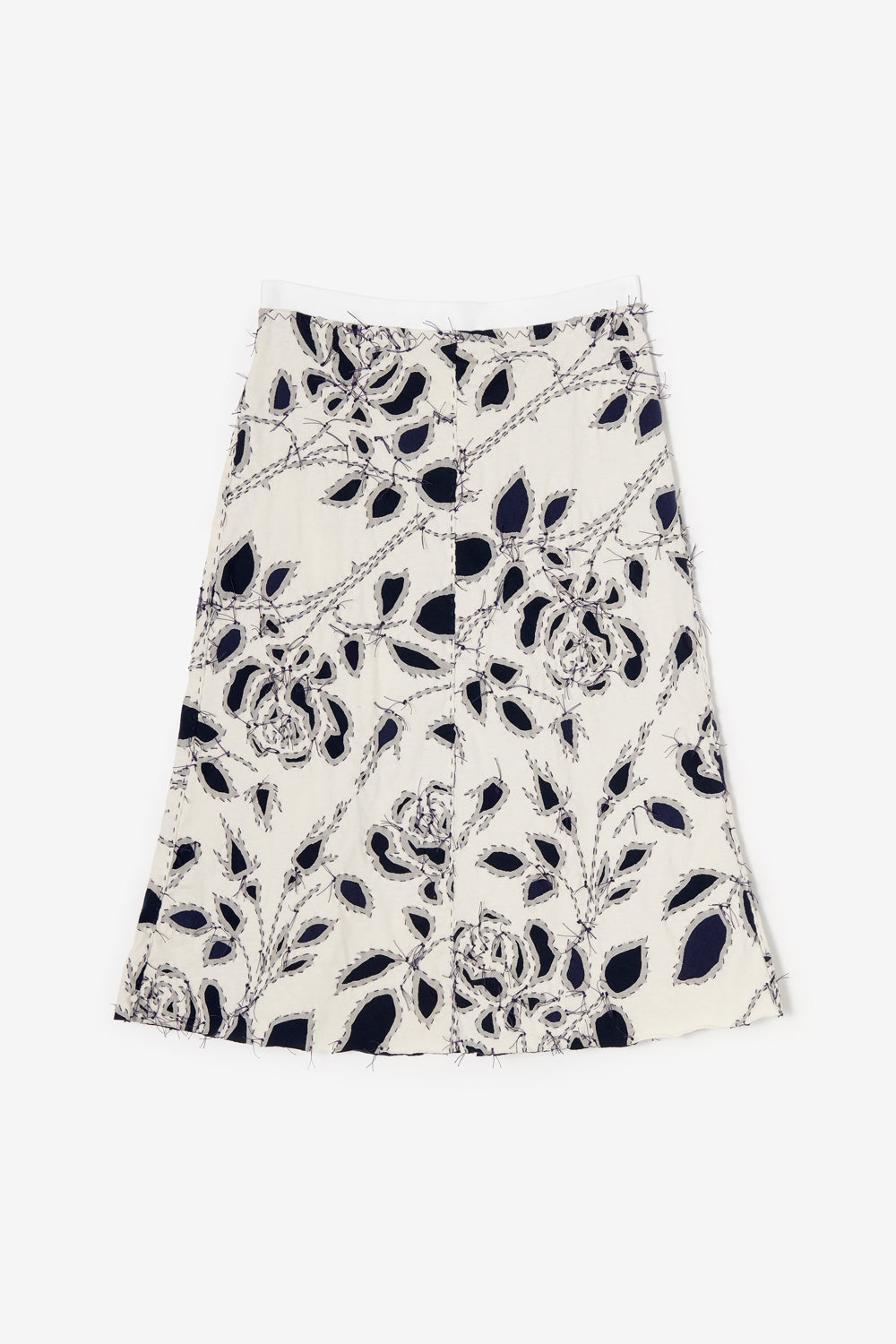 Alabama Chanin Rose Helton Skirt in Natural and Navy Upcycled Cotton Jersey