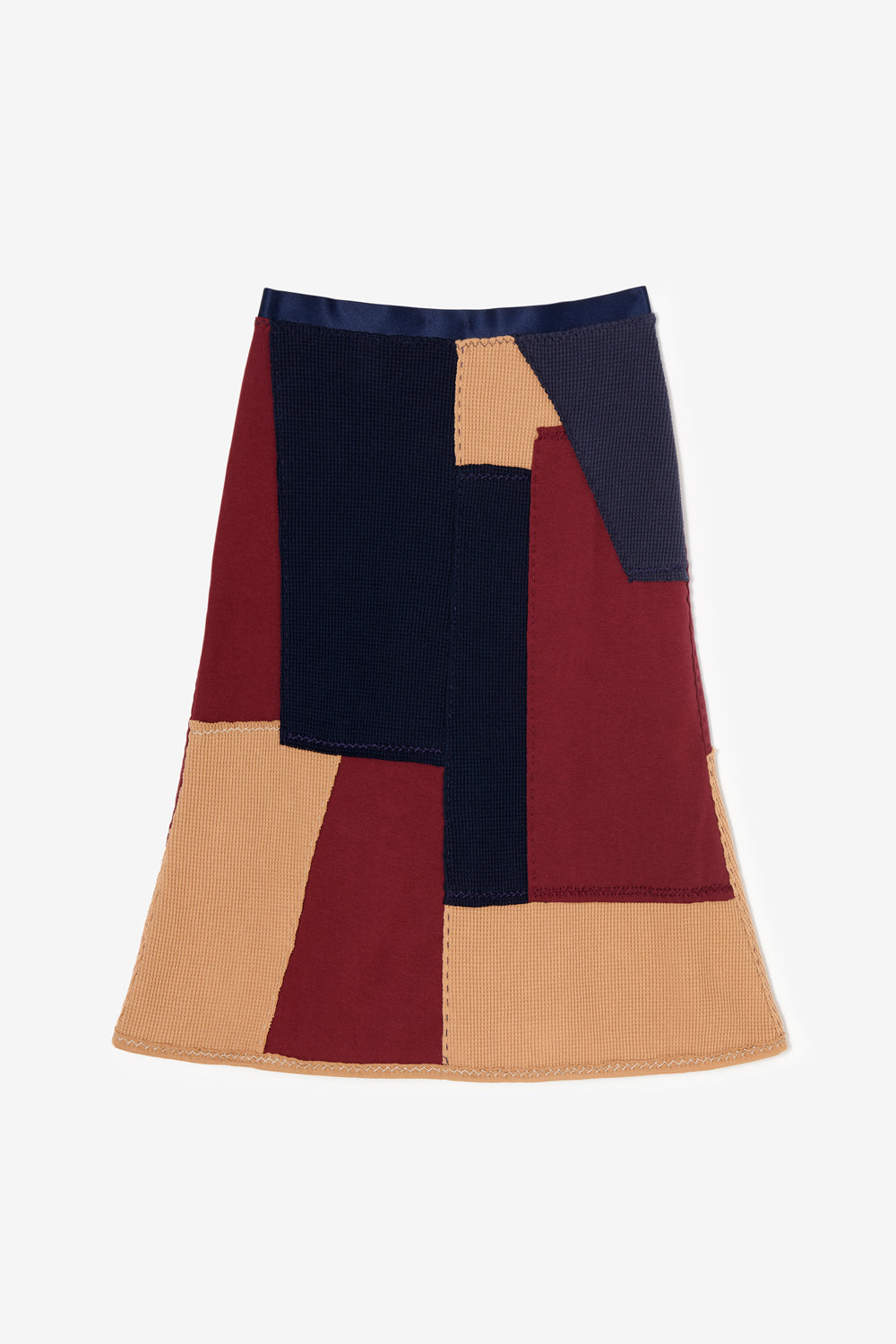 Alabama Chanin Artisan Designed  Zero Waste Waffle Skirt in Camel and Navy with Heavy-weight Plum