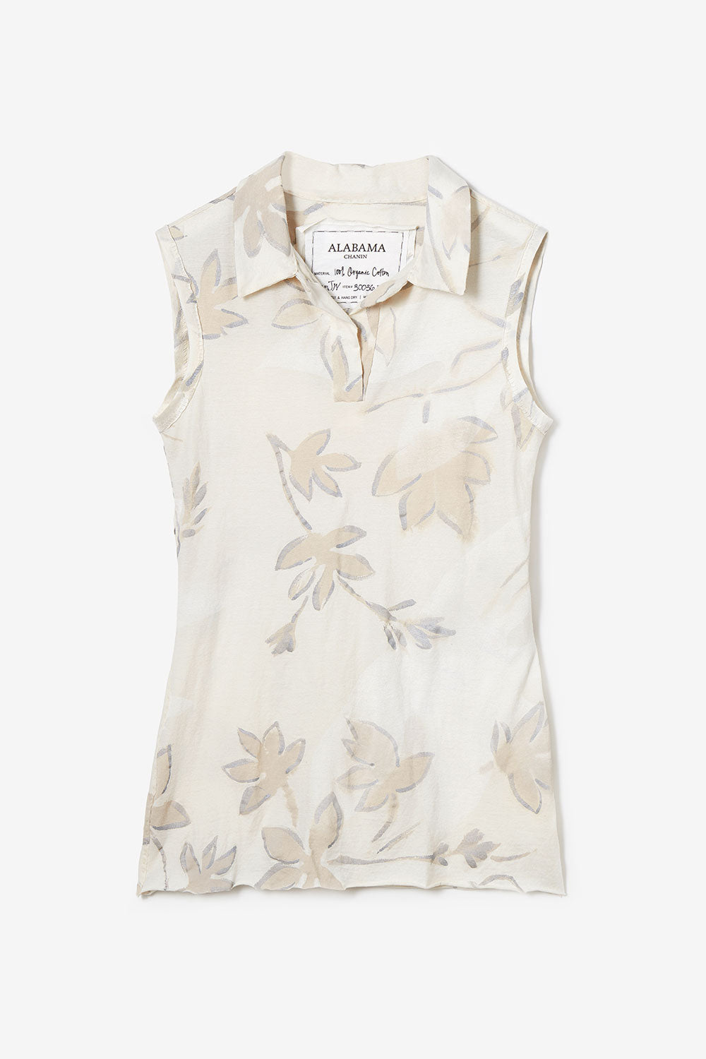 Alabama Chanin The Florence Polo Sleeveless Hand Sewn Women's Polo with Hand-painted Floral Print