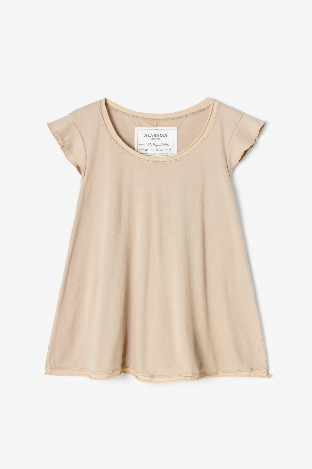 Alabama Chanin The Lyla Top with Flutter Sleeves Organic Cotton in Wax