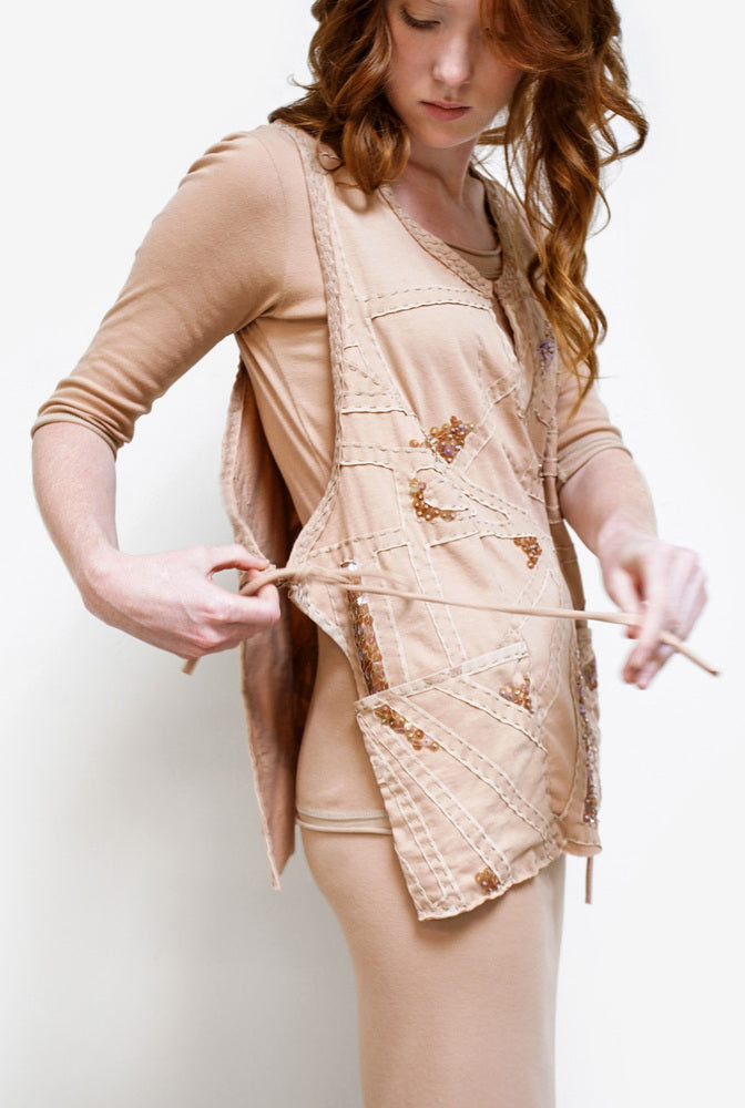 Alabama Chanin Gina Smock on Model Hand-Sewn Reverse Appliqué Wrap Top with Beading in Pink