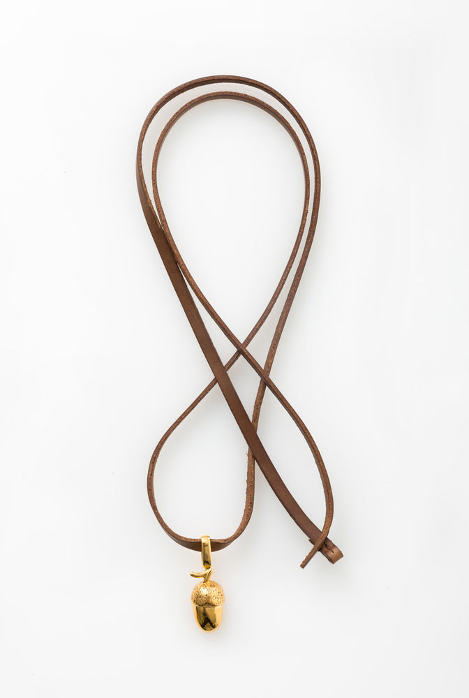 Alabama Chanin Hand-Made Acorn Pendant in Gold on Brown Leather Strap