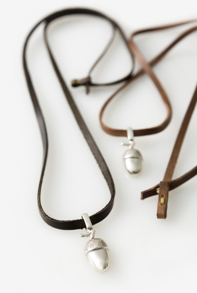 Alabama Chanin Acorn Pendants in Silver on Leather Straps