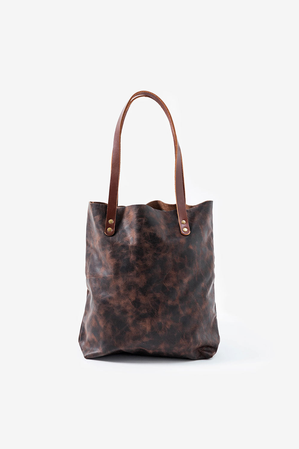 Alabama Chanin Hawks + Doves USA Made Leather Tote Brown Leather Bag with Strap