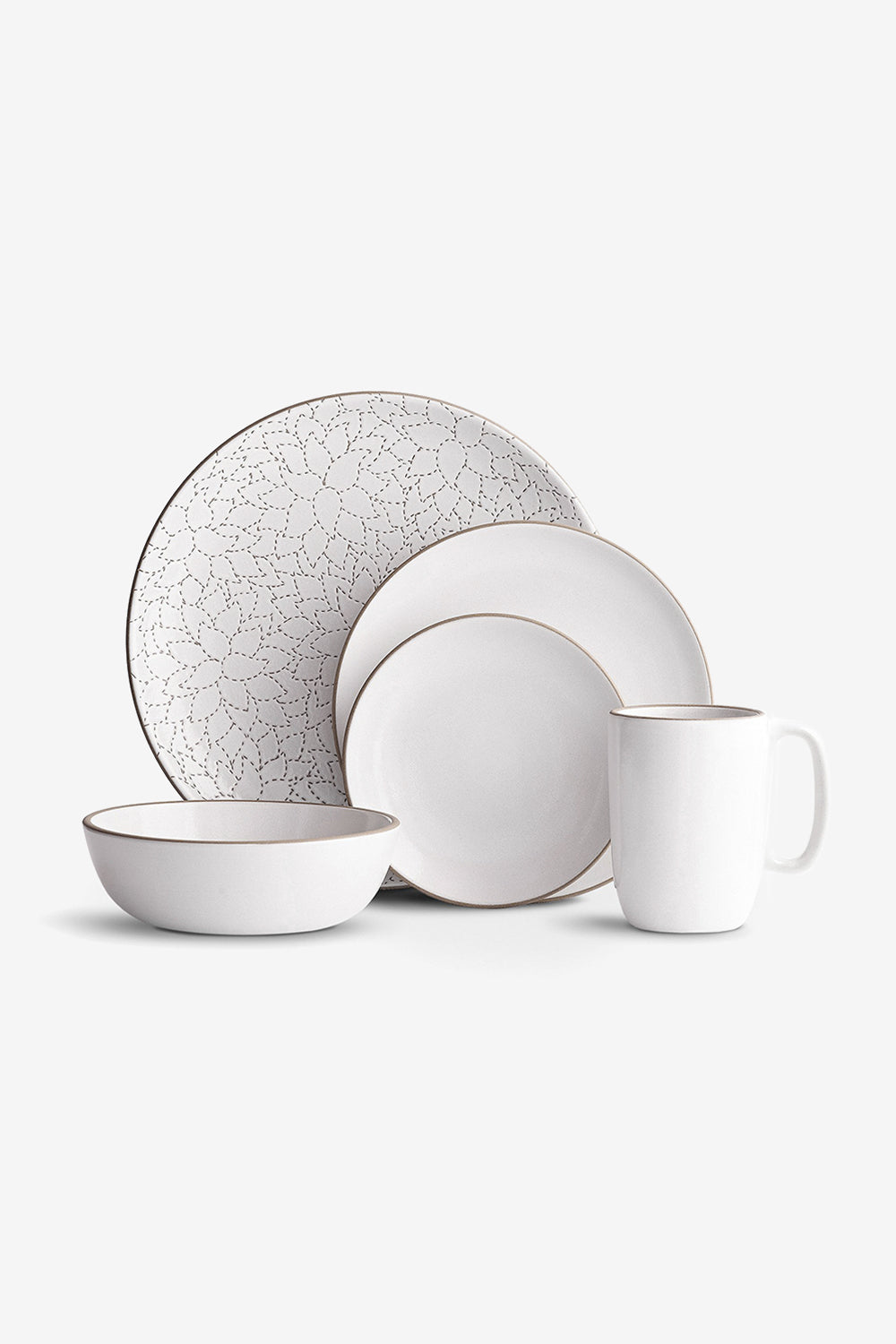 Alabama Chanin Camellia Etched Dinner Plate Hand-Etched Dinnerware Set in Opaque White and White Floral