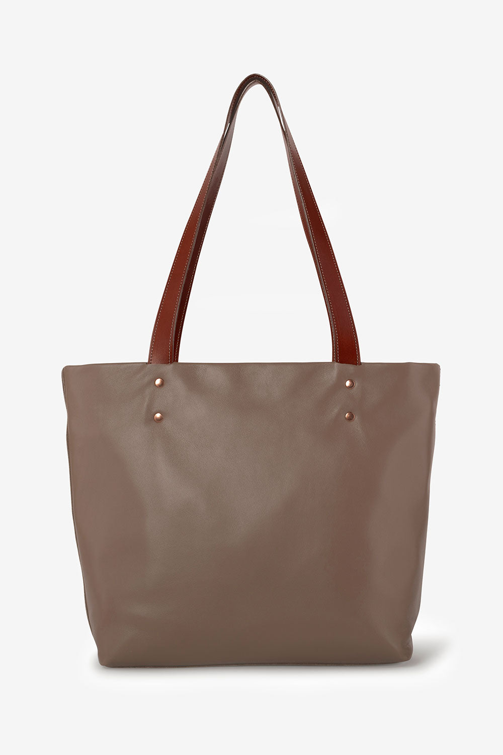 Alabama Chanin Heath Sews Leather Totes Handmade Leather Tote with Straps in Brown
