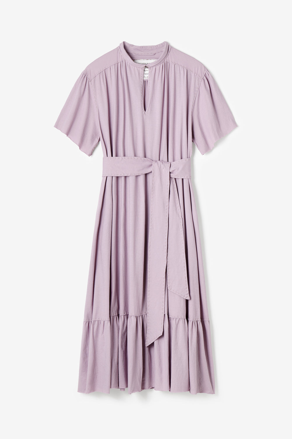 Alabama Chanin Ines Dress with Shirred Keyhole Neckline and Belt in Organic Lightweight Lilac Cotton