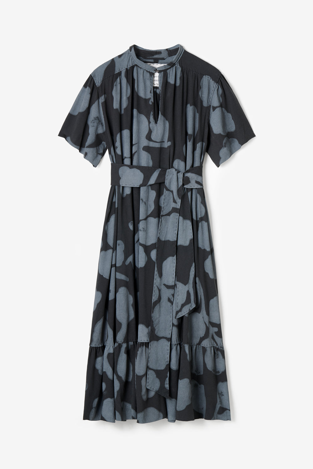 Alabama Chanin Organic Summer Dress The Ines Dress in Hand-Painted Black Leaves Print
