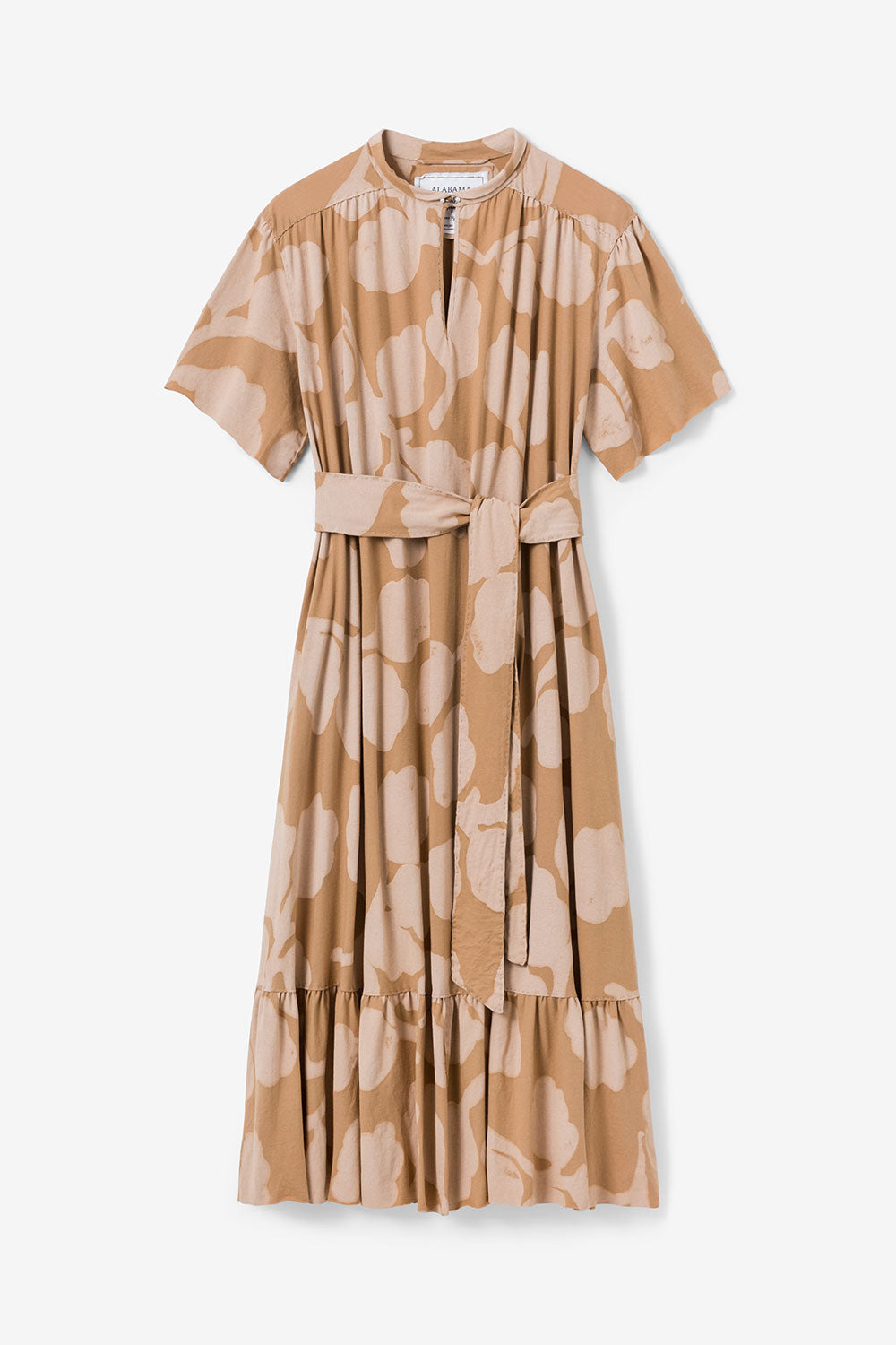 Alabama Chanin Organic Cotton Ines Dress with Keyhole Neckline in Hand-Painted Leaves Design
