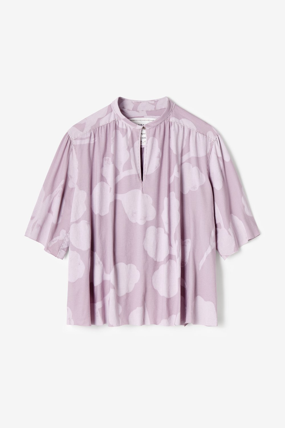 Alabama Chanin Organic Cotton Ines Top Hand-Painted Leaves Design in Lilac
