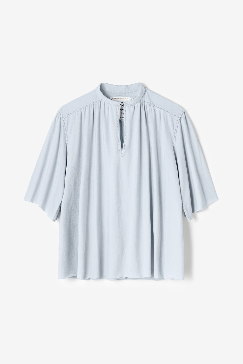 Alabama Chanin Ines Top with Dolman Sleeve Hand-Sewn in Baby Blue
