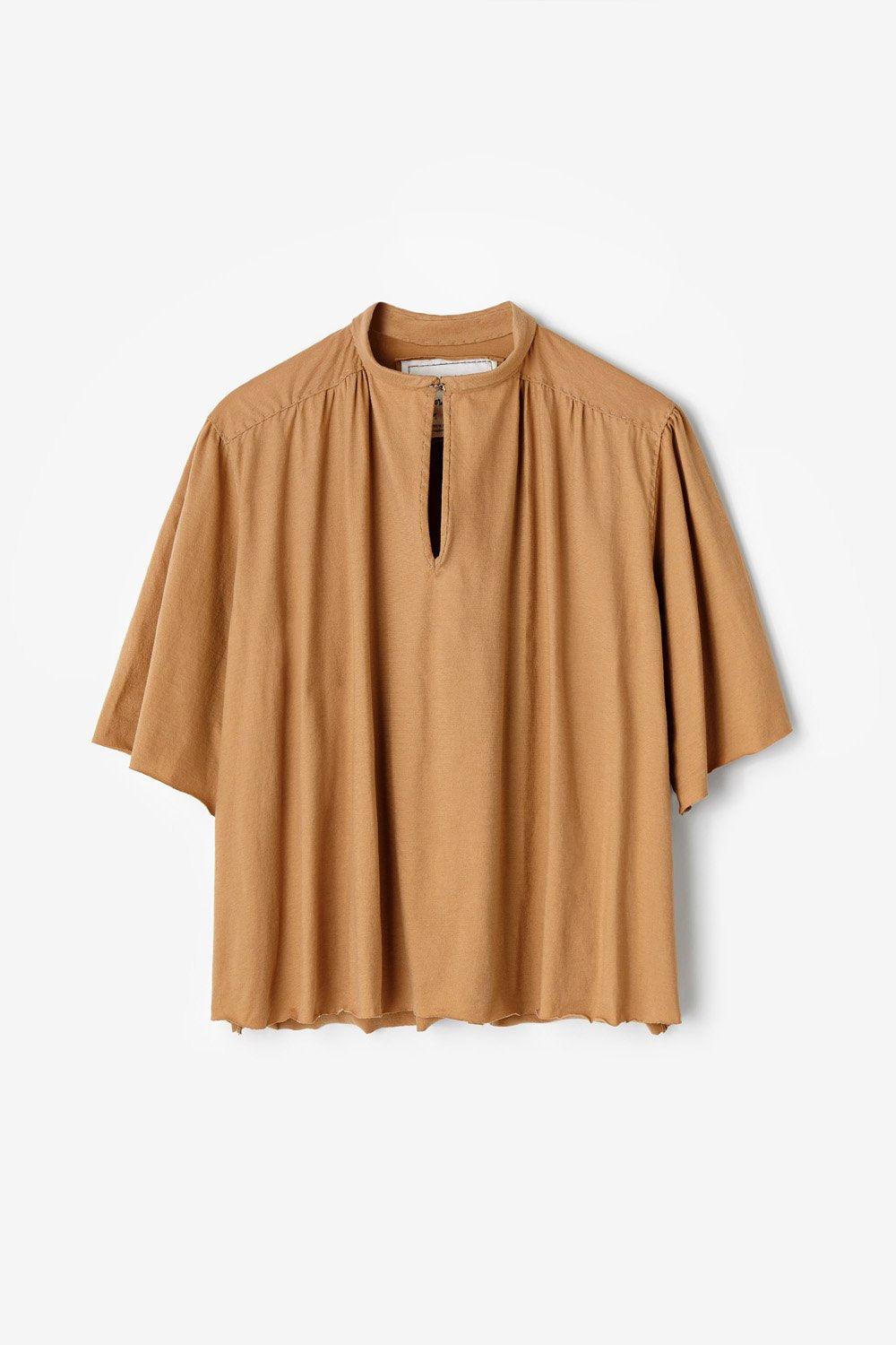 Alabama Chanin Women's Ines Top with Shirred Keyhole Neckline in Camel Organic Cotton