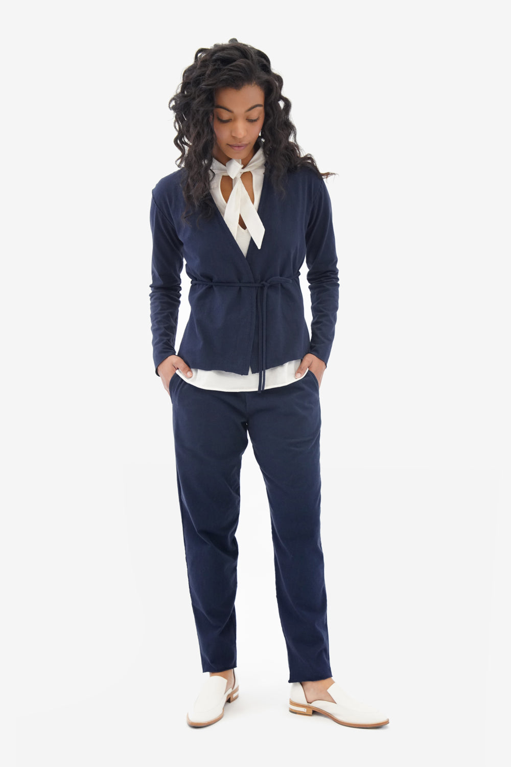 Alabama Chanin Jogger Women's Pant on Model in Navy with Wrap Top in 100% Organic Cotton