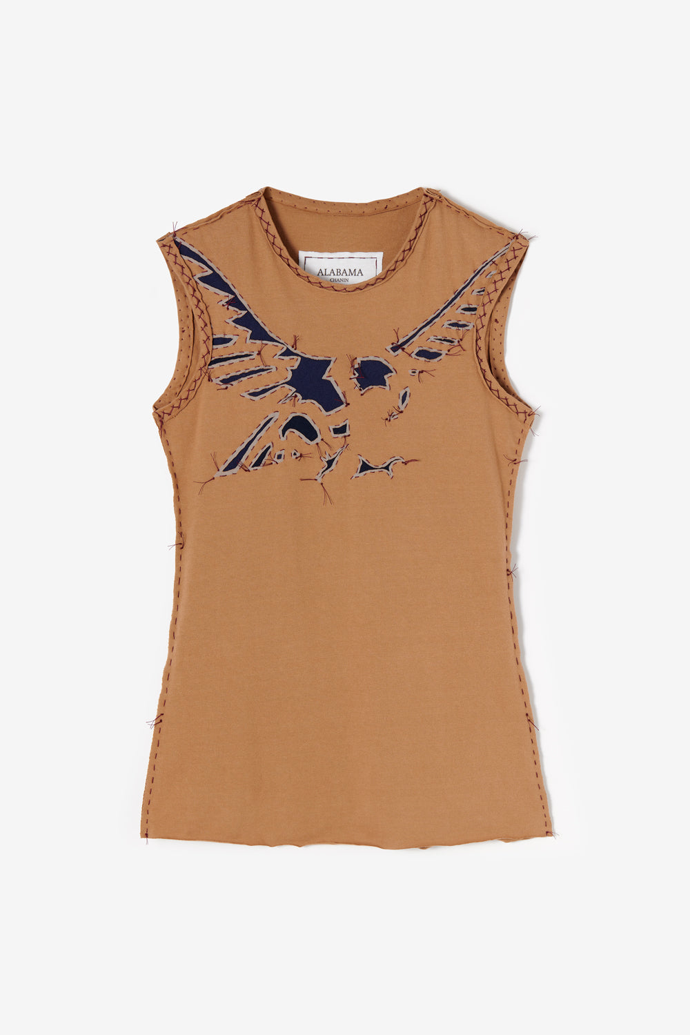 Alabama Chanin 21 Years Collection Hand Sewn Eagle Fitted Top in Camel