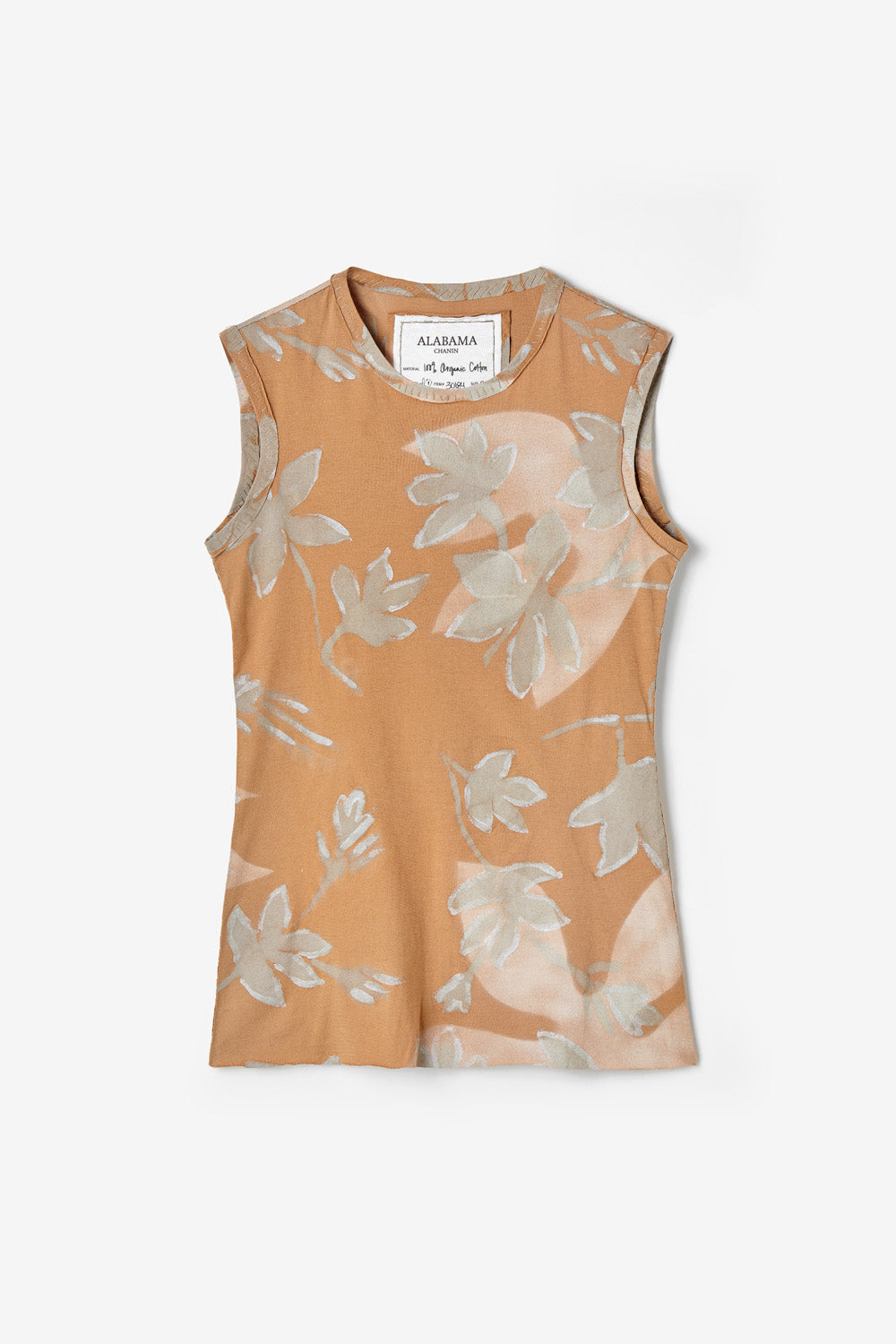 alabama chanin jude top sleeveless fitted top with hand painted floral pattern