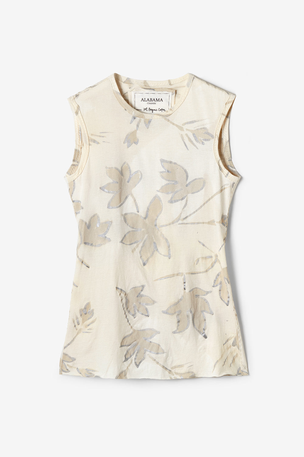 alabama chanin jude top handsewn fitted top with hand painted floral pattern in natural
