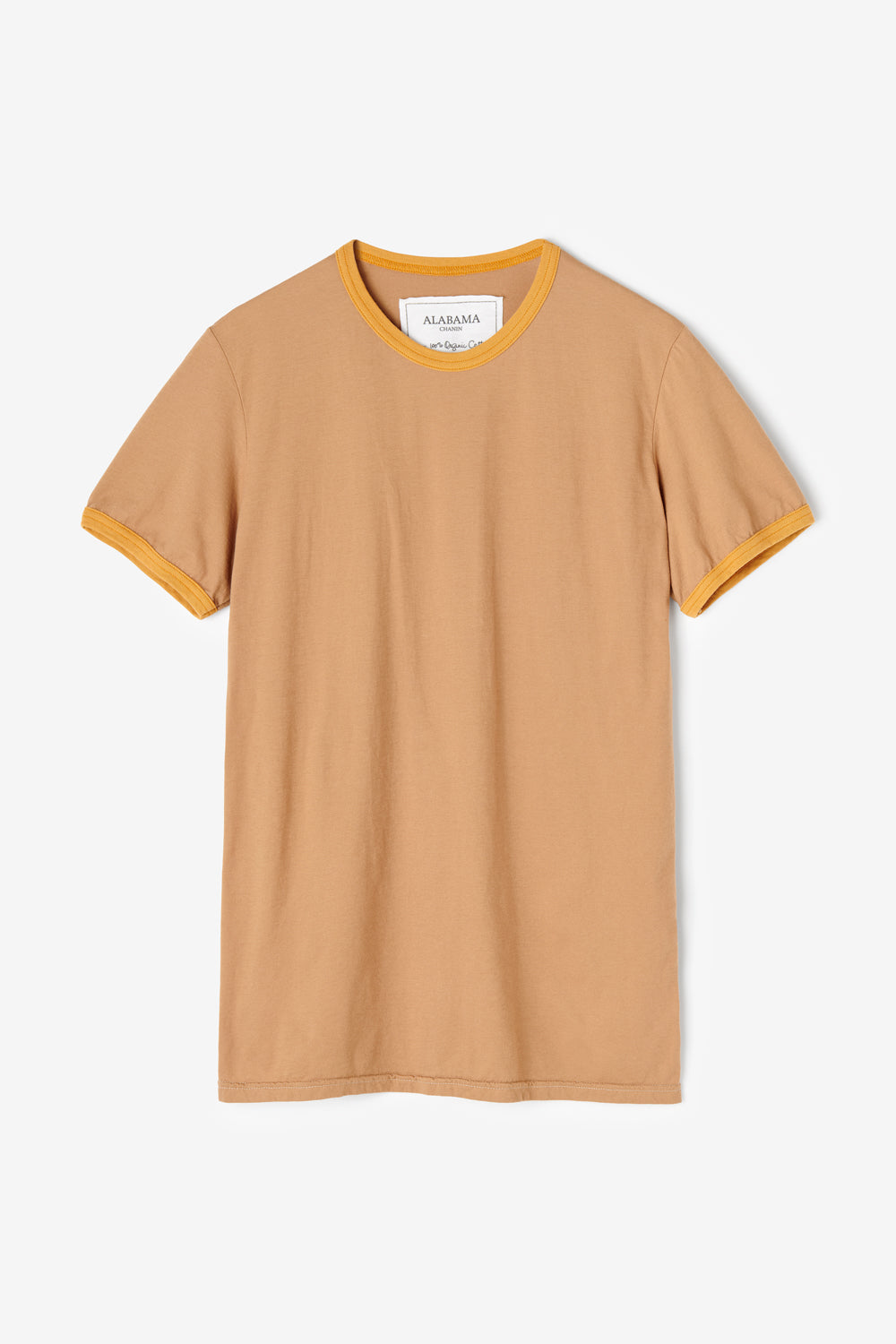 Alabama Chanin 100% Organic Cotton T-Shirt in Camel with Gold Ringer