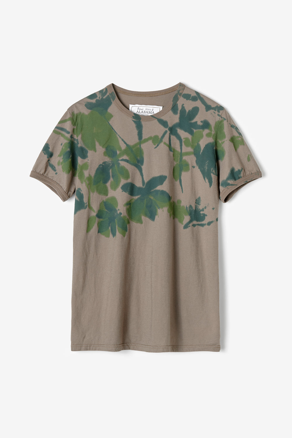 Alabama Chanin 100% Organic Cotton T-Shirt Top with Hand Painted Leaves