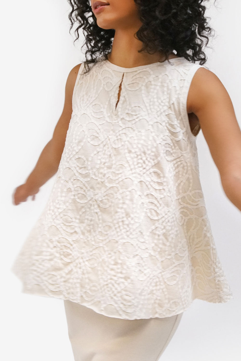 alabama chanin lucy eileen top handsewn sleeveless top in natural