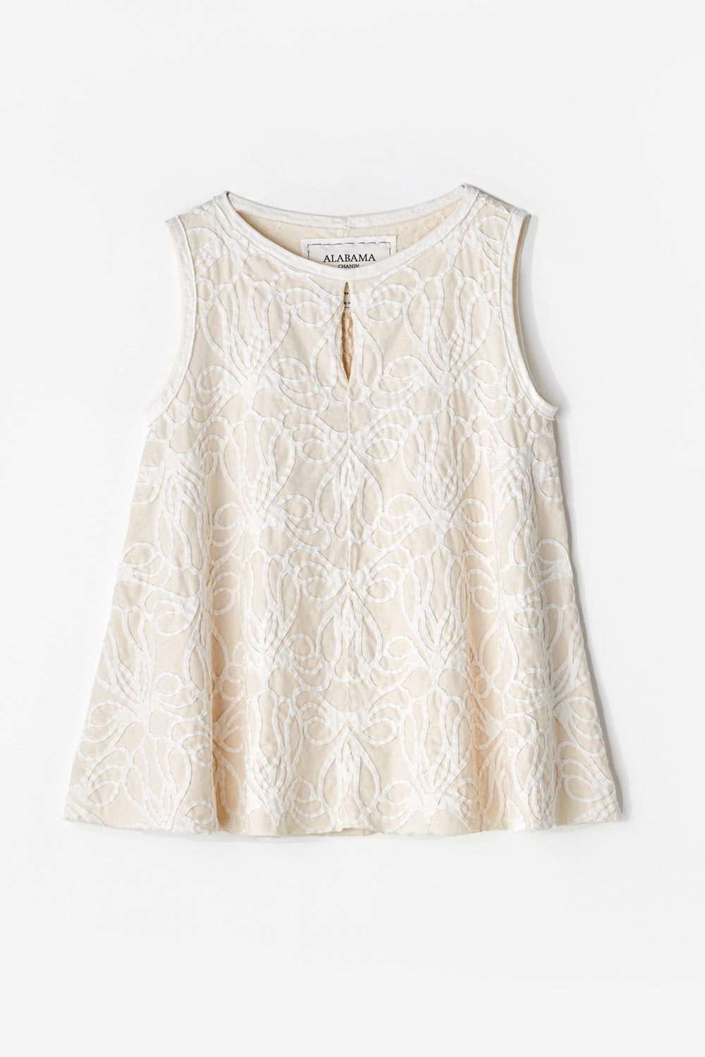 alabama chanin lucy eileen top organic cotton sleeveless top with floral pattern