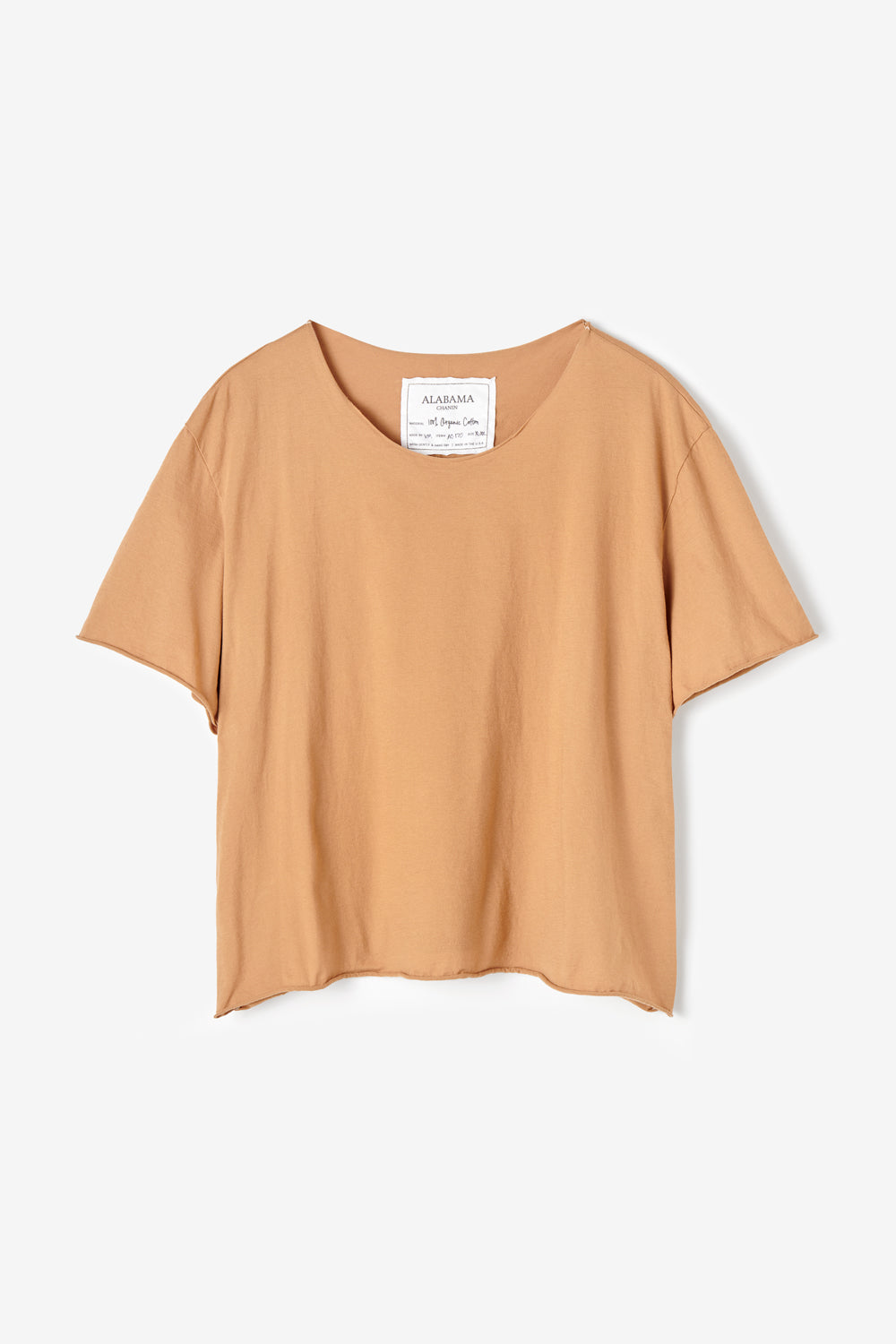 Alabama Chanin 100% Organic Cotton Top with Boat Neck in Camel