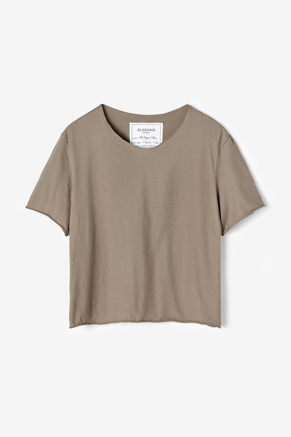 Alabama Chanin 100% Organic Cotton Top with Boat Neck in Brown